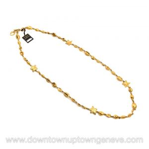 YSL Rive Gauche Neptune vintage necklace in goldtone metal with seashells & starfish