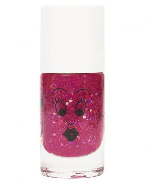 Vernis à ongles enfant framboise transparent paillettes Sheepy