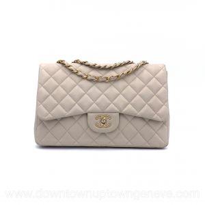Chanel Classic flap bag MM in beige lambskin