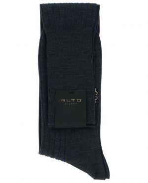 Chaussettes rayées en laine vierge et coton