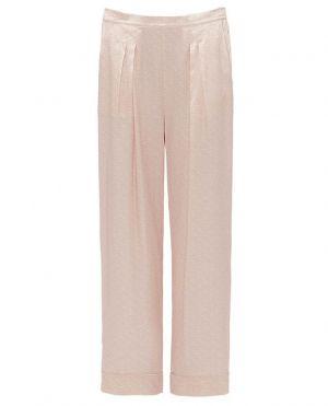 Pantalon large raccourci en soie Blason