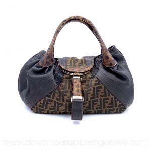 Fendi Spy bag PM in Zucca canvas and tortoiseshell print trim
