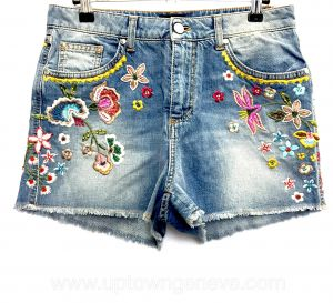 Ermanno Scervino denim embroidered mini shorts