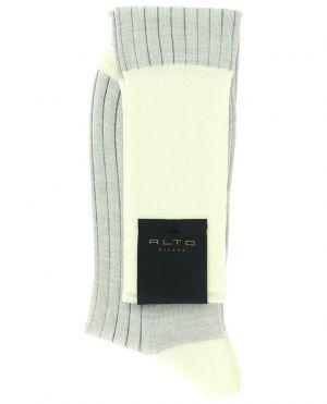 Chaussettes bicolores en laine vierge et coton