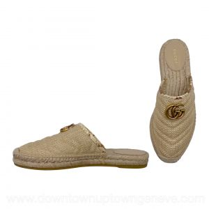 Gucci mule espadrilles in beige straw with gold double Gs