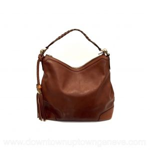 Gucci vintage shoulder bag with caramel grained leather with bamboo tassels