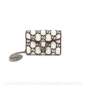 Gucci Dionysus GG WOC (wallet on chain) in white/blue tweed & red leather trim