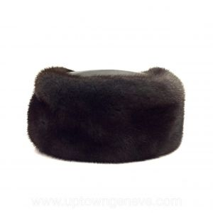 Dark brown mink & leather pillbox hat