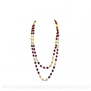 Chanel Gripoix vintage necklace in red glass and crystals