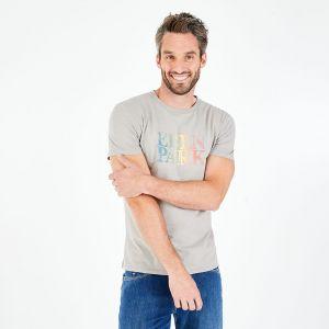 T-shirt slim fit gris en coton flammé imprimé