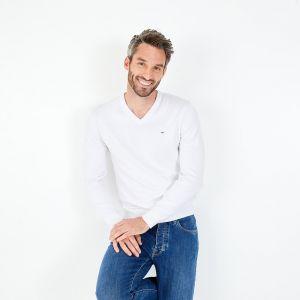 Pull blanc à col V en jersey de coton