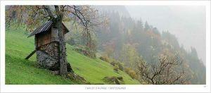 cartes postales panoramiques (lot de 10) - chalet d'alpage