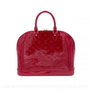 Louis Vuitton Alma GM bag in red patent leather