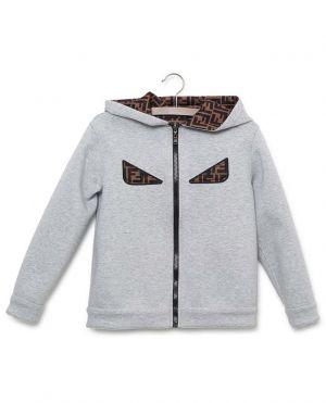 Sweat-shirt zippé à capuche en néoprène motif FF