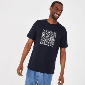 T-shirt bleu marine graphique en coton pima léger