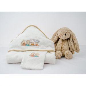 Linge de bain pour bébé en coton peigné et savane brodée