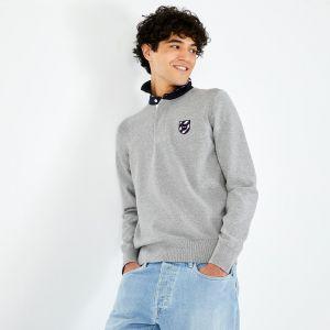 Pull gris à col maillot en coton avec écusson