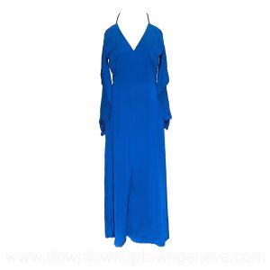 Roland Mouret jumpsuit in blue silk with long sleeves