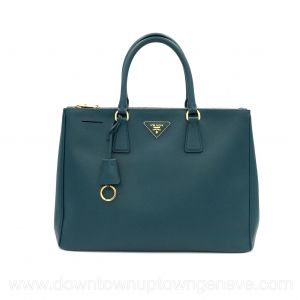 Prada Galleria GM tote bag in teal saffiano leather