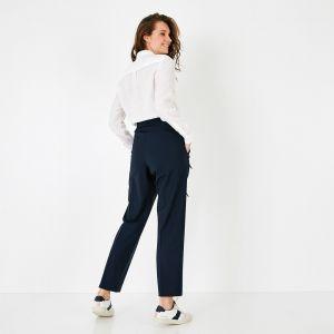 Pantalon bleu marine en laine mélangée stretch