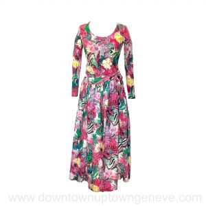 Lanvin combinaison stretch top & wrap skirt in pink & green floral pattern
