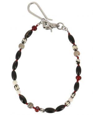 Chaîne porte-clé avec perles en corne et verre