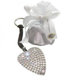 Porte-clé en forme de coeur avec cristaux Swarovski