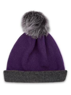 Reversible Beanie in Cashmere - Purple/Charcoal