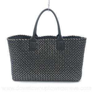 Bottega Veneta PM cabat in intrecciato nappa black with silver thread weave