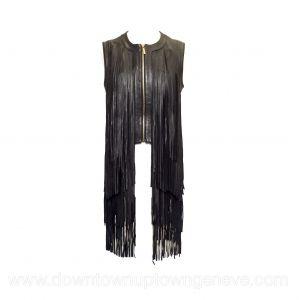 Elie Saab vest in black leather with fringing
