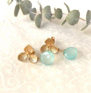 Boucles d'oreilles petites fleurs et jades