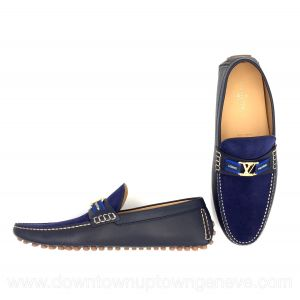 Louis Vuitton Hockenheim moccasins in blue suede & leather