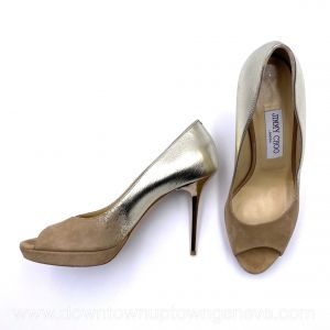 Jimmy Choo peep-toe platform heels beige suede with golden gradient back and metallic heels