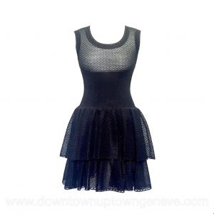 Alaia dress in black silk blend with ruffle skirt