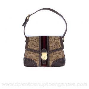Gucci vintage bag in brown horsebit canvas with burgundy velvet stripe