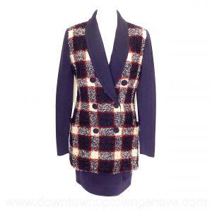 Karl Lagerfeld vintage skirt-suit in multicoloured check looped wool with purple skirt & sleeve