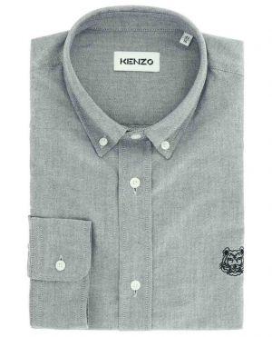 Chemise oxford en coton texturé brodé Tiger Crest