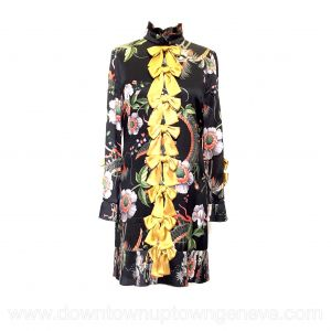 Gucci dress in black silk dragon & flower print with gold bows