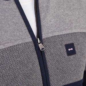 Cardigan gris en jersey de coton tricolore