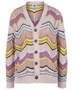 Cardigan ajouré côtelé motif zigzag multicolore