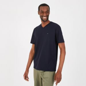 T-shirt à col V bleu marine en coton pima léger