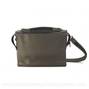 Fendi QBIC Selleria messenger bag in green grained leather