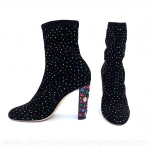 Jimmy Choo Maine ankle boots in black stretch suede with multicoloured crystals
