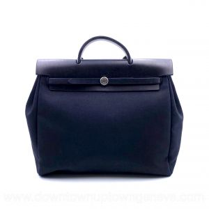 Hermès Herbag GM in black cotton leather (with 2nd bag)