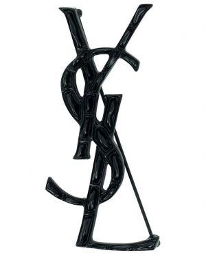 Broche noire en forme de monogramme Opyum Crocodile