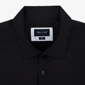 Chemise slim fit noire en coton mélangé stretch