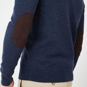 Cardigan zippé marine en laine et coton uni