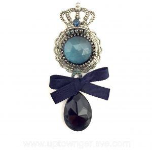 Emporio Armani brooch in antique silvertone metal and blue perspex