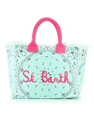 Grand sac cabas en toile imprimé Vanity Embroidered Bandanna Round