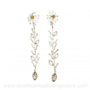 Lacroix 1990s vintage earrings in crystal & zircon with daisy bead clips